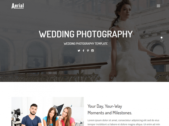 Aerial - Wedding Photography HTML Template