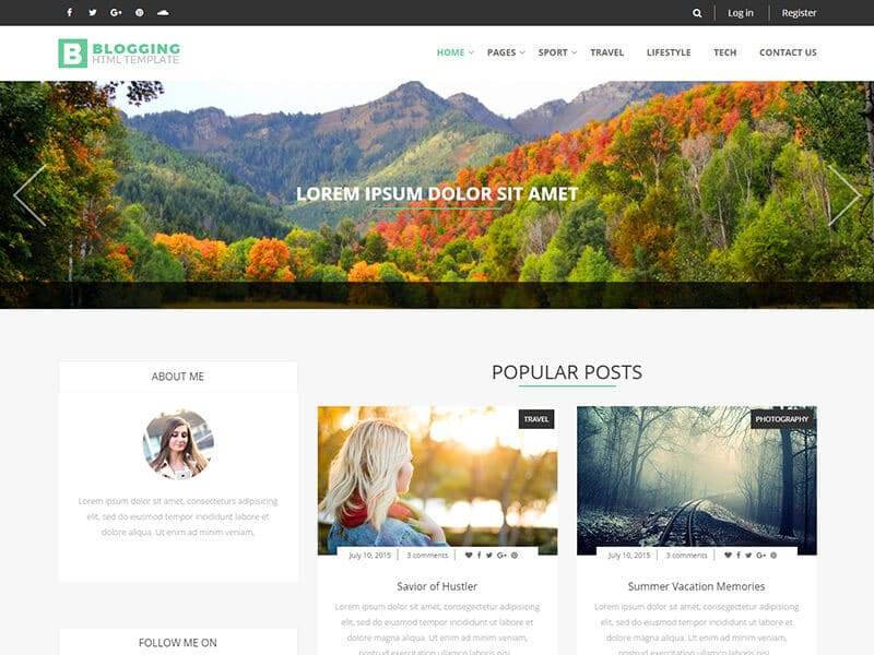 Blogging HTML Template