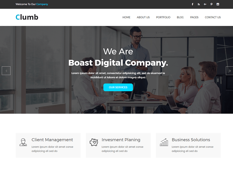 Clumb – Corporate Bootstrap Template