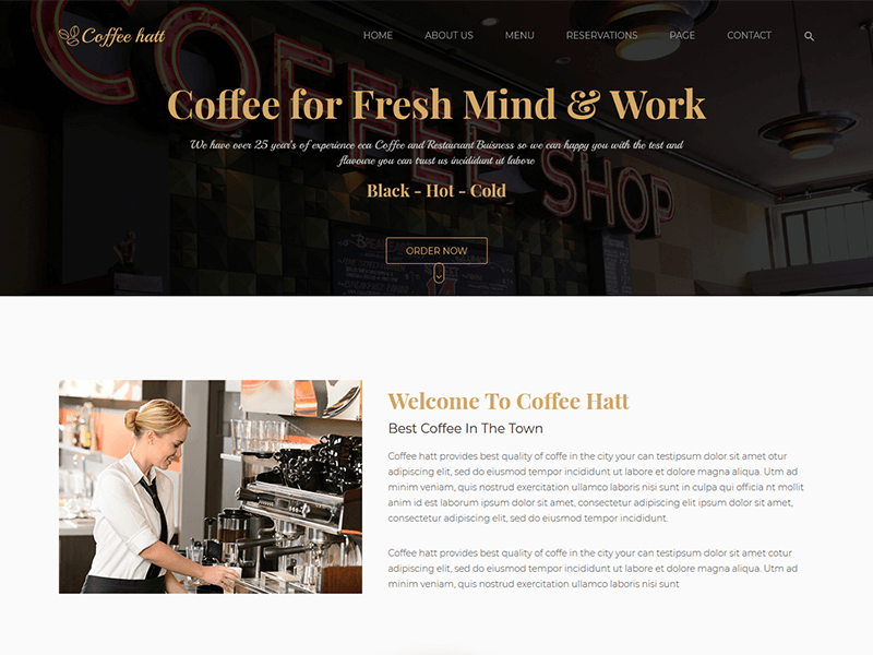 Coffee Hut – Restaurant HTML Template