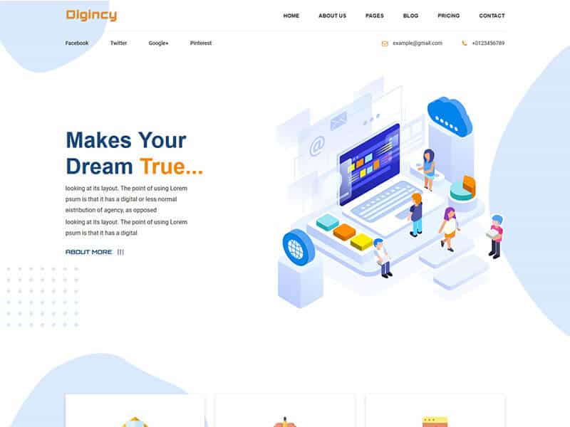 Digincy – Corporate Business Bootstrap 4 Template