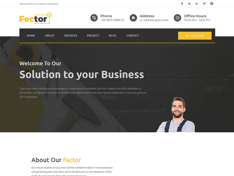 Fector Plus - Factory & Industrial HTML Template