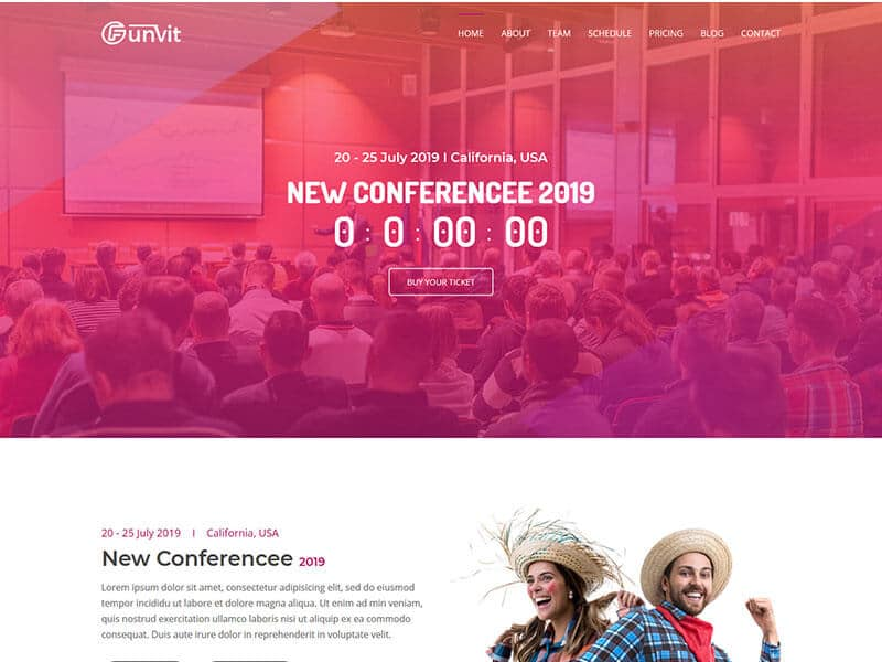 Funvit Event Landing Page Template.