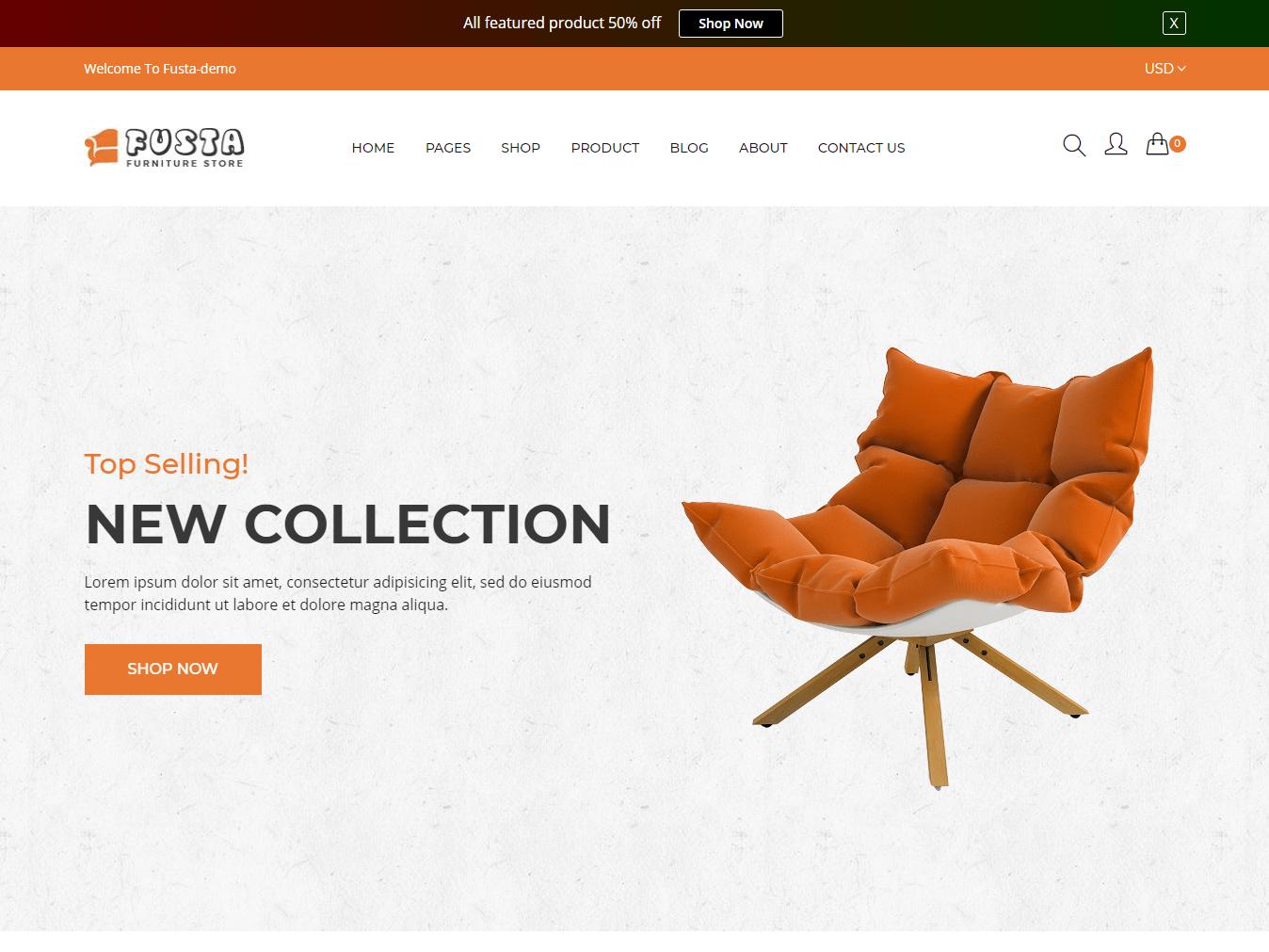 Fusta - Furniture eCommerce Bootstrap 4 Template
