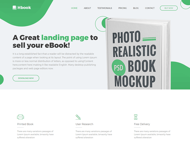 Hbook - Book Landing Page HTML Template