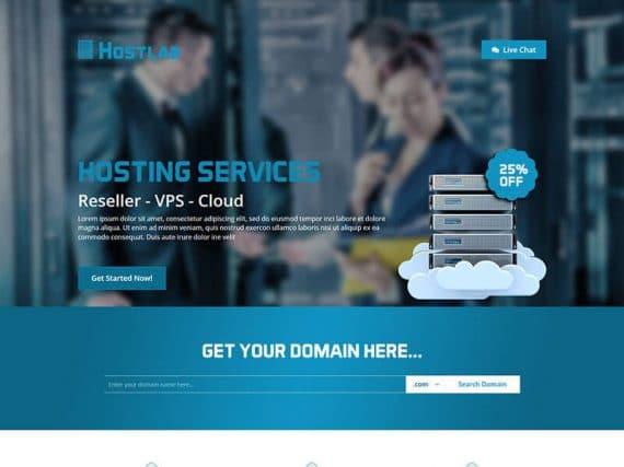 Hostlab – Hosting Landing Page Template