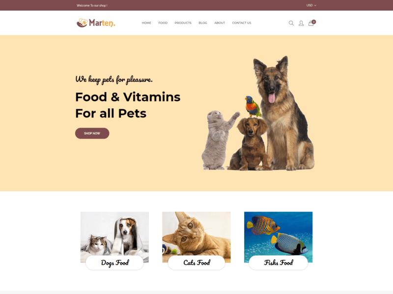 Marten - Pet Food eCommerce Bootstrap4 Template