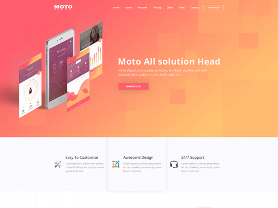 Moto – Multipurpose App Landing Page HTML Template