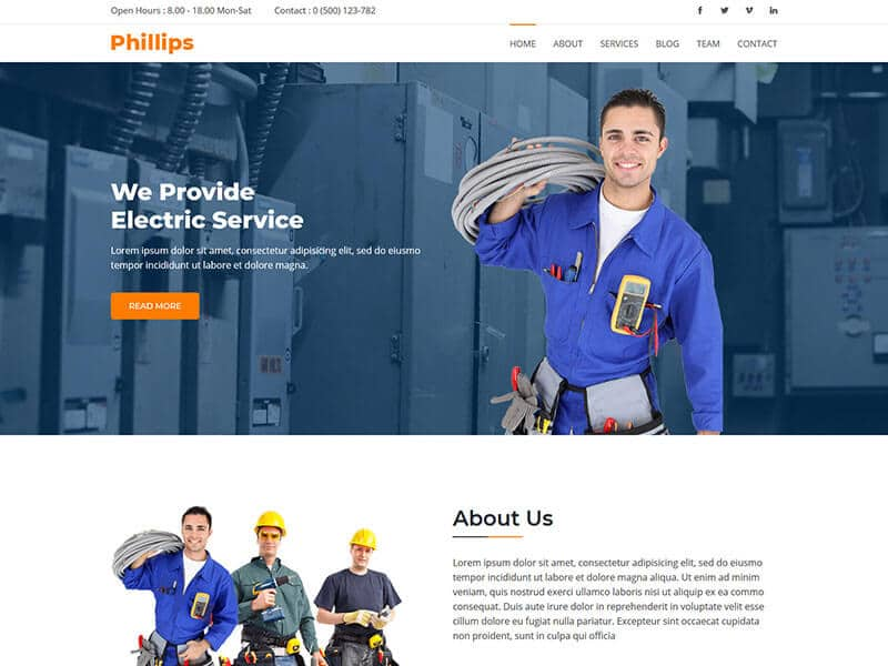 Phillips - Electrical & Electronics Service HTML Template