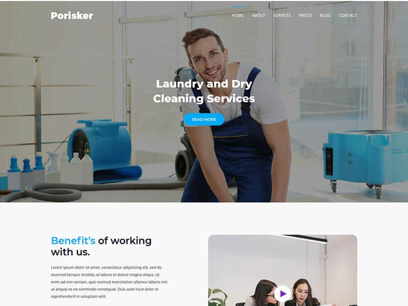 Porisker - Cleaning Serivice Landing Page Template