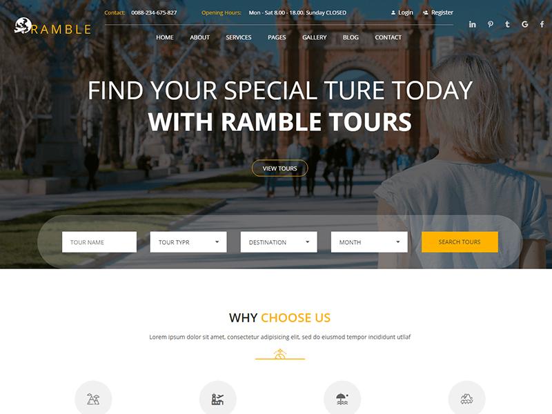 Ramble - Tour & Travel Agency HTML Template