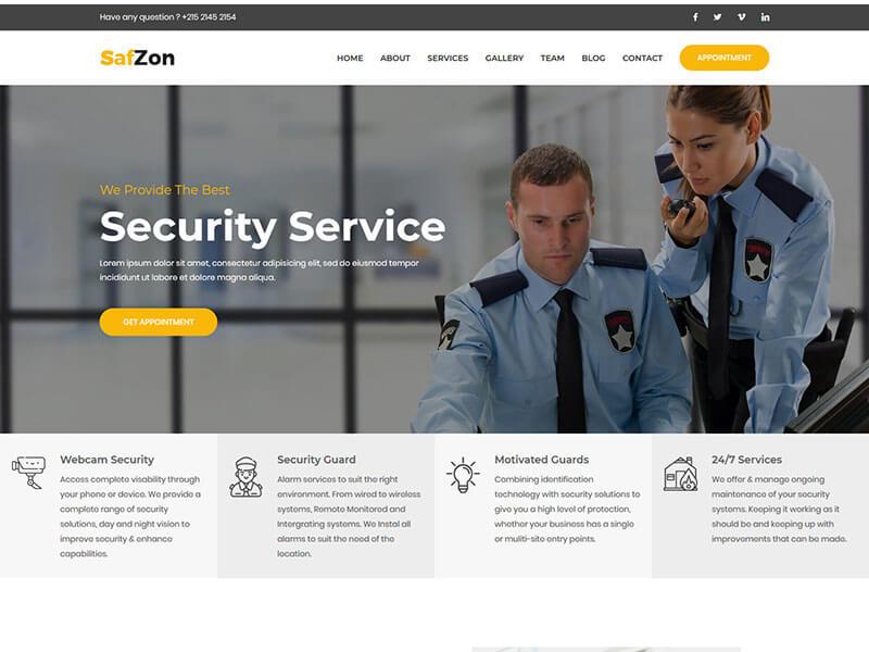 SafZon - Security Guard HTML Template