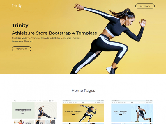 Trinity - Athleisure Store Bootstrap 4 Template
