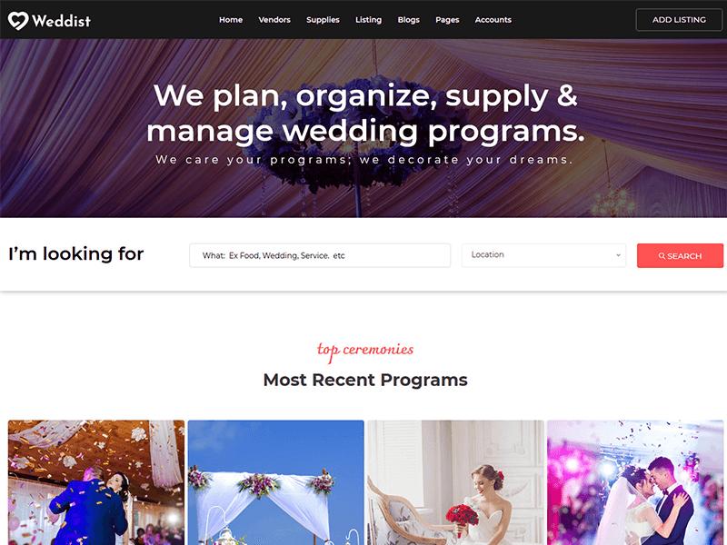 Weddist - Wedding Directoy Listing Bootstrap Template