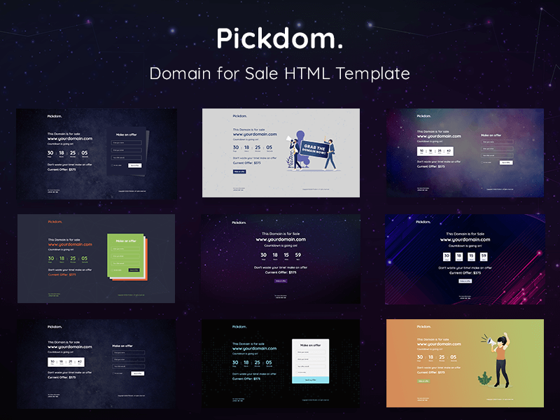 Pickdom - Domain for Sale HTML Template