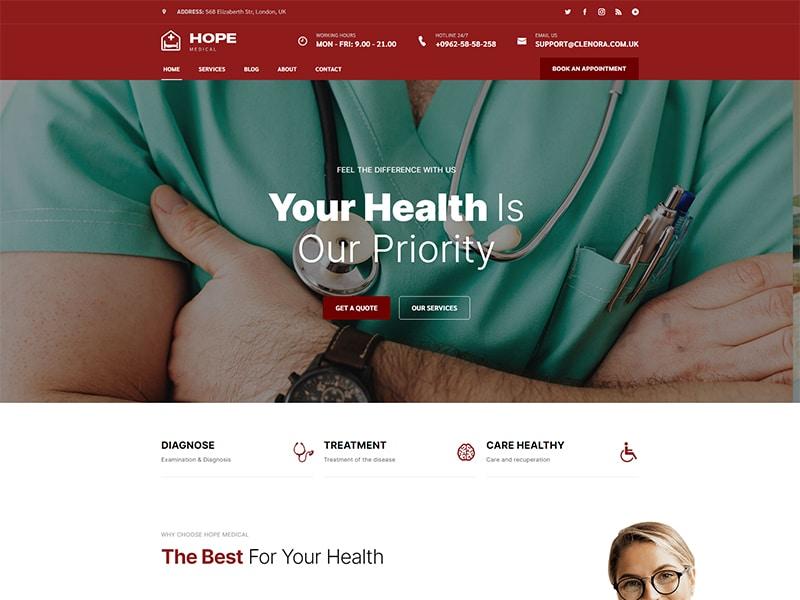 Hope Health & Medical HTML 5 Template